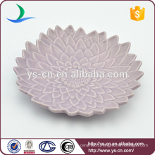 Hot sale beautiful purple ceramic flower plate