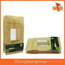 Brown papel kraft bolsa de comida personalizada con ventana transparente