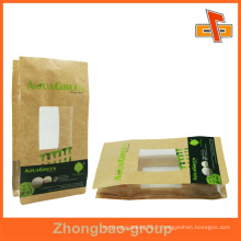 Papier kraft brun pochette alimentaire personnalisée avec fenêtre claire
