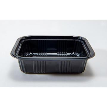 Rechteckige Einweg-Bento-Box aus schwarzem Kunststoff