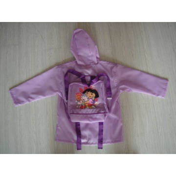 Yj-1152 Children′s Polyester Purple Packable Rain Jacket with Hood