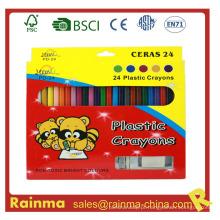 24 PCS Color Plstic Crayon com Sharpener e Eraser