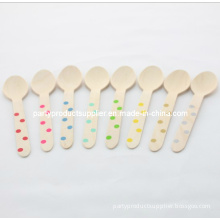 """6.5"""" Polka DOT Wooden Spoon for Baby Shower"""