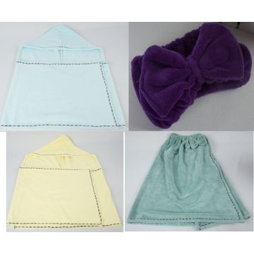 Microfiber Damen Bademantel Set Hooded Lightweight Robe