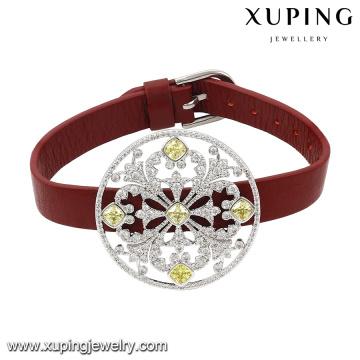 74629 Bracelet de bijoux en cristal de nouvelle arrivée de mode en cuir rouge