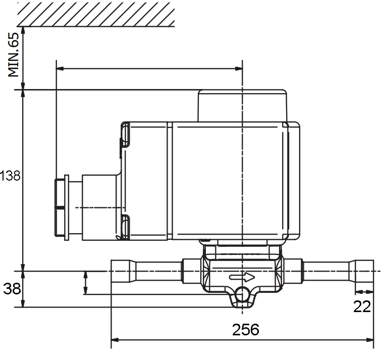 Main dimension of EVR25 Refrigeration Solenoid Valve: