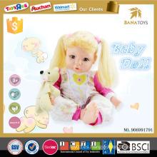 Bonito muñeco de muñeca de niña de 16 pulgadas muñeca de silicona con sonido