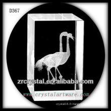 K9 3D Subsurface Oiseau gravé