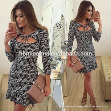 Spring and summer fashion design long sleeved printed mini package hip dress women 2017