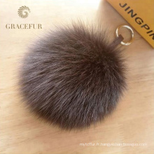 Keychain de balle de fourrure de renard de pom pom de haute qualité