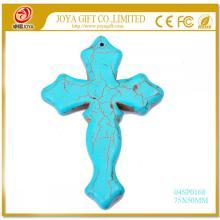 Semi Precious Stone Turquoise Cross Pendant 75X50MM