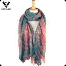 2016 мода Поп-петли пряжи женские клетчатый шарф с бахромой