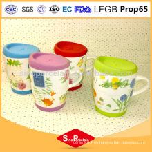 Taza de té de impresión de calcomanía 325 ml con tapa de silicona para BS131125F