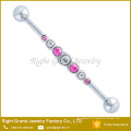 Multi Crystal Jeweled 316l Chirurgenstahl Industrie Barbell Ohrring