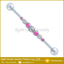 Multi Crystal Jeweled 316L Surgical Steel Industrial Barbell Earring