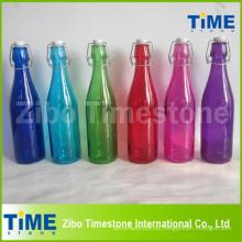 Botella de vidrio de 500 ml con tapa para clip