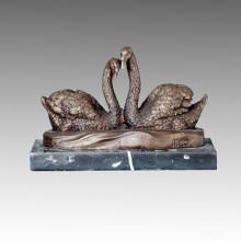 Animal estatua de aves Swan amantes de bronce Escultura, Milo Tpal-082