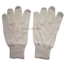 NMSAFETY barato cor da pele algodão luvas Nature jersey 7 oz luva de algodão, malha de pulso.