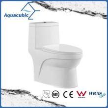 One Piece Dual Flush Ceramic Round Front Bowl Toilet (ACT7005)