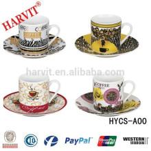 80cc Tasses à café et soucoupes, tasses à thé en céramique et soucoupes
