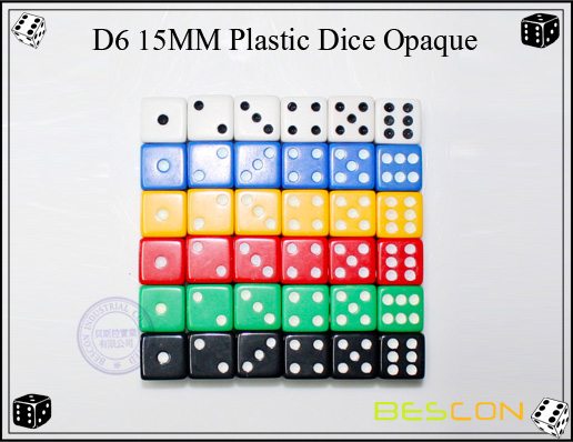 D6 15MM Plastic Dice Opaque