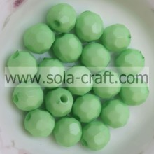 Bright Green 4mm Lovely Round Plastic Beads For Bracelet Making Faceted Surface