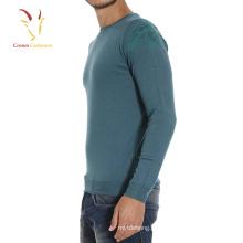 Teste padrão de impressão macio da camisola do pescoço de gola dos homens