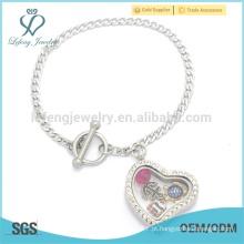 Bracelete de prata programável, braceletes de cristal da corrente da ligação do coração para a menina