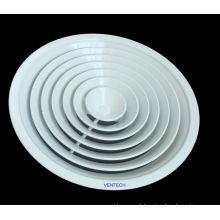 entrada de ar redonda difusor, difusor de teto ajustável