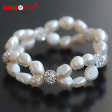 Cheap Pretty Double Baroque Pearl Bracelets for Women (E150055)