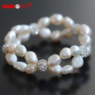 Günstige hübsche doppelte barocke Perlenarmbänder für Frauen (E150055)