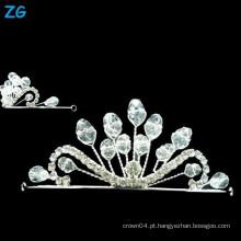 Coroa de cristal de alta qualidade do casamento, coroas de cristal pequenas da rainha, headpiece de cristal do casamento