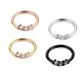 16G 316L Surgical Steel Prong Set CZ Hinged Segment Ring Septum Clicker Piercing