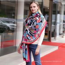 Moda feminina algodão macio animal Impresso xale Viscose senhora moda lenço