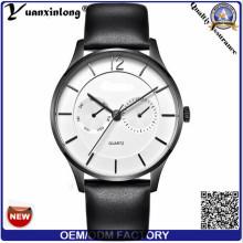Tendência Moda Aço Inoxidável Caseback Assista Mãos Quartz Relógio De Pulso De Negócios Marca De Couro Quartz Men's Watch