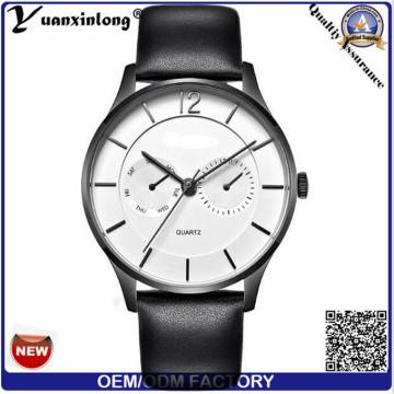 Trendy Fashion Stainless Steel Caseback Watch Hands Quartz Wristwatch Business Brand Leather Quartz Men′s Watch