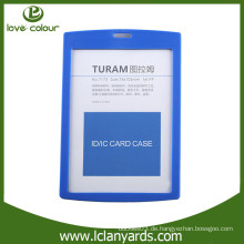 Kundenspezifischer blauer vertikaler harter Plastikkartenhalter für Firmennamenkarte