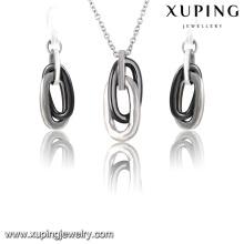 63920 Fashion Cool bijoux en acier inoxydable en céramique en argent-plaqué