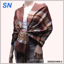 Woman′s Fashion Jacquard Knit Satin Paisley Shawl Wrap Scarf