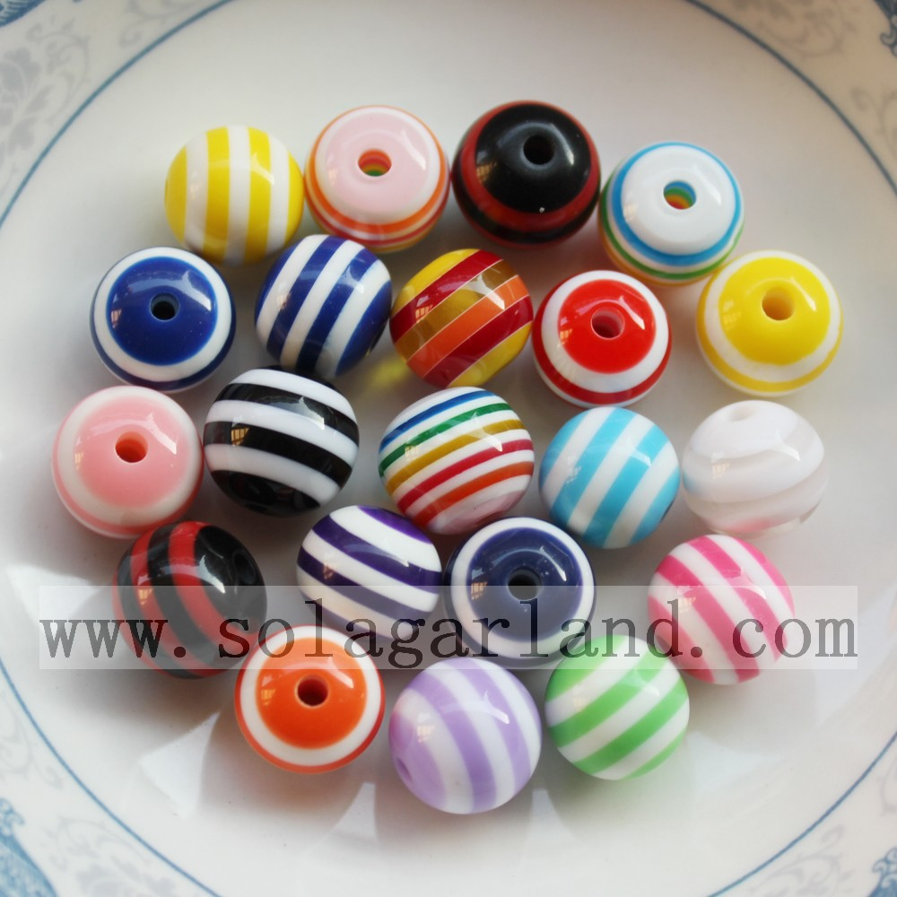 Resin Stripe Chunky Beads