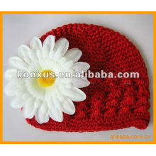 Crochet children hat with daisy flower