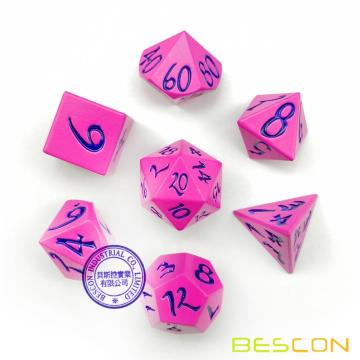 Bescon New Style Solid Metal Dice Set Deep Pink w/Black Numbers, Metallic RPG Miniature Polyhedral dice set