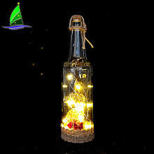 Decoración de botellas de vino de ángel con luces brillantes de hadas