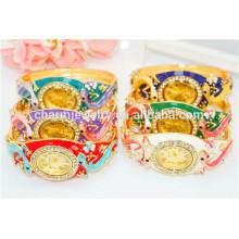 Nova moda personalizado luxo strass gecko pulseira relógio para mulheres b074