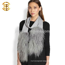 2015 Wholesale Hot Style Fur Scarf Grey Soft Material Knitted Scarf With Mongolian Fur Lady Scarf
