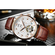 Western Style Waterproof Leather Men Wrist Watch