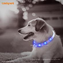 Colliers de chien rougeoyant rechargeable usb tube de silicone