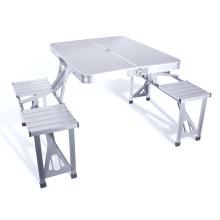 VIVINATURE Mesa plegable con 4 taburetes plegables Altura ajustable de aluminio Camping con orificio para sombrilla