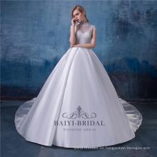 Vestidos de boda musulmanes del vestido nupcial del vestido de boda del alto cuello de la vendimia China