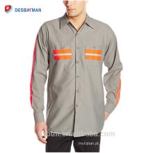 Oi Vis Poliéster Algodão Mangas Compridas Camisa de Trabalho de Alta Visibilidade de Segurança Camisa Reflexiva Uniforme Atacado